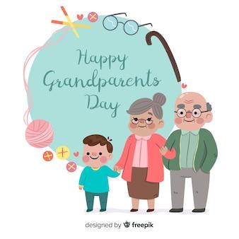 フラットデザインのかわいい祖父母の日の背景