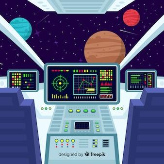 フラットデザインのモダンな宇宙船のインテリアの背景