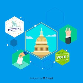平らなデザインの大統領選挙の構成