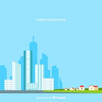 Плоский городской пейзаж с офисными зданиями