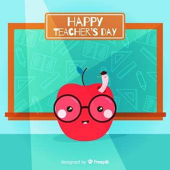 Дневной фон учителя с яблоком и доске в плоском дизайне