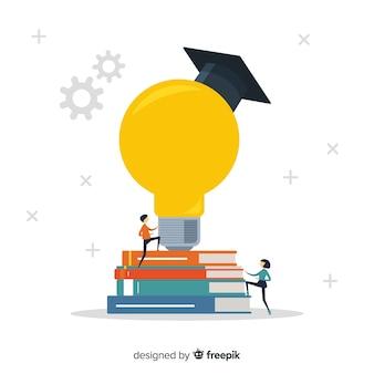 Концепция современного образования с плоским дизайном