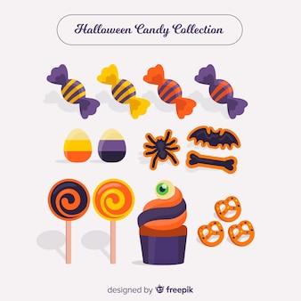 フラットデザインのカラフルなハロウィンキャンディーコレクション