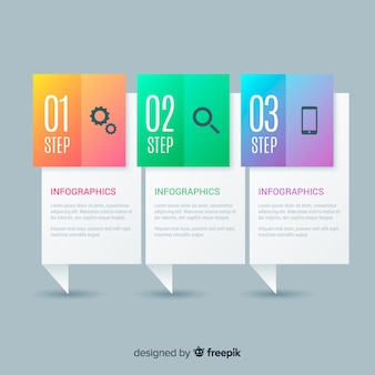 Концепция творческих градиентных инфографических шагов