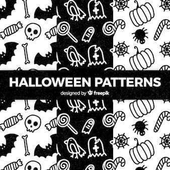 黒と白のハロウィーンの要素のパターンのコレクション