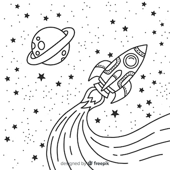 手描きの現代宇宙ロケット