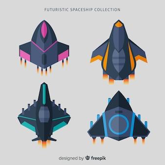 フラットデザインのカラフルな宇宙船コレクション