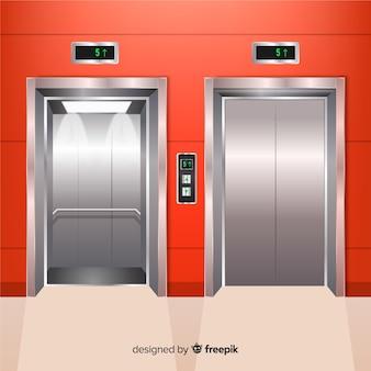 現実的なデザインのモダンエレベーター