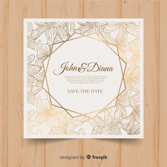 黄金の要素を持つ美しい花の結婚式の招待状のテンプレート
