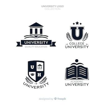 平らな大学のロゴのセット