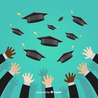 卒業生を祝う幸せな学生