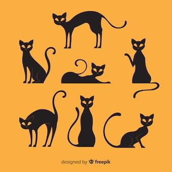 フラットデザインのハロウィーンの猫のコレクション