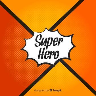 オレンジハーフトーンスーパーヒーローの背景