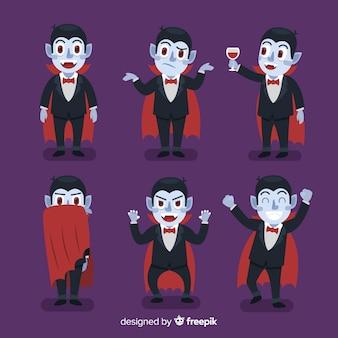 フラットデザインのカラフルな吸血鬼のキャラクターコレクション