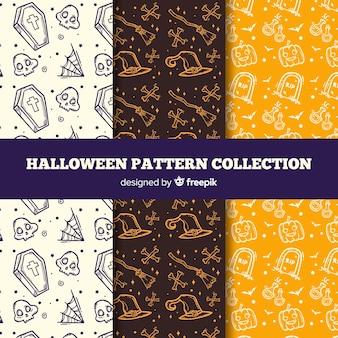 手描きのハロウィーンのパターンコレクション