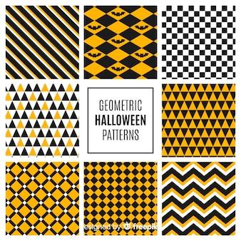 幾何学的なデザインのハロウィーンのパターンのコレクション