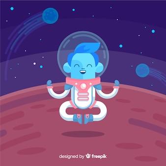 フラットデザインの素敵な宇宙飛行士キャラクター