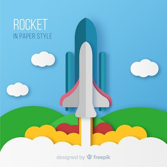 折り紙スタイルの素敵な宇宙ロケット構図
