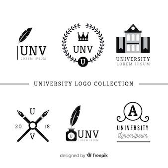 平らな大学のロゴのコレクション