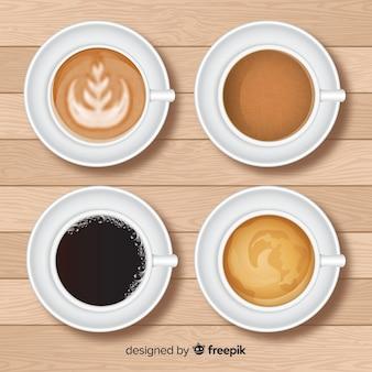 現実的なデザインのコーヒーカップコレクションのトップビュー