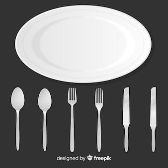 Вид сверху столовых приборов ресторана с реалистичным дизайном