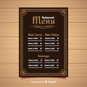 ヴィンテージのタイポグラフィーを備えたエレガントなレストランメニューテンプレート