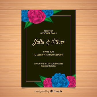 花のウェディングカードのテンプレートとゴールデンフレーム