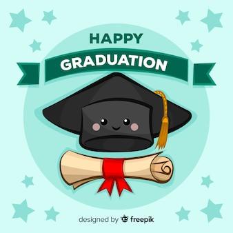 手描きの卒業の帽子と卒業証書