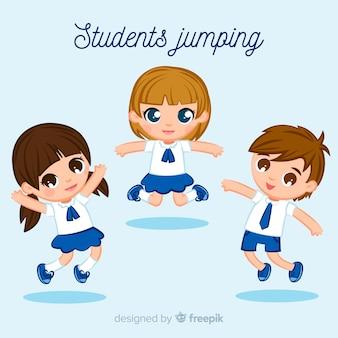 フラットデザインで飛び降りる幸せな学生