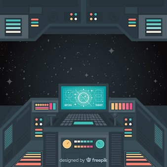 フラットデザインの宇宙船のインテリアの背景
