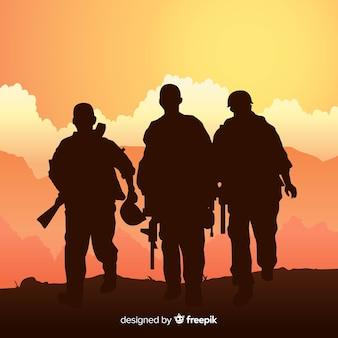 Военный фон с силуэтами солдат