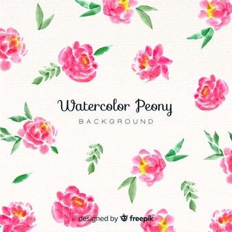 美しい牡丹の花の背景に水彩スタイル