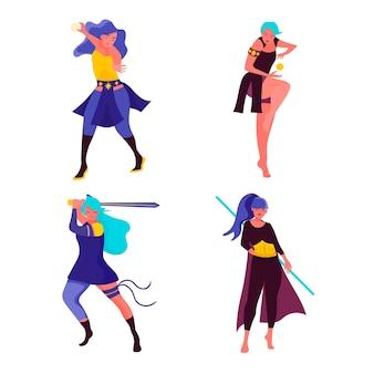 フラットデザインのカラフルな女性のスーパーヒーローコレクション