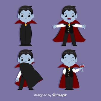 フラットデザインのハロウィン吸血鬼コレクション