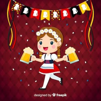 オクトーバーフェストを祝う女の子