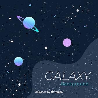 フラットデザインのカラフルな銀河の背景