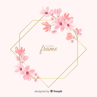 美しい黄金の花のフレームデザイン