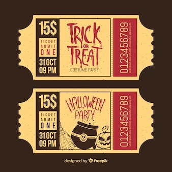 Коллекция билетов на вечеринку на хэллоуин с винтажным дизайном