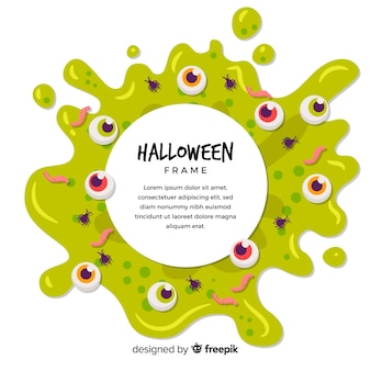 Жуткая рамка хэллоуина с плоским дизайном