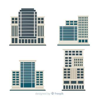 Современная сборка офисного здания с плоским дизайном