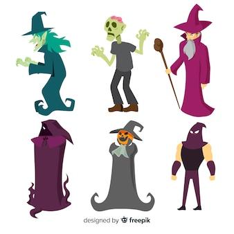Прекрасная коллекция символов хэллоуина с плоским дизайном