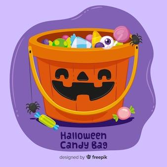 Красочный ручной обращается хэллоуин конфеты мешок