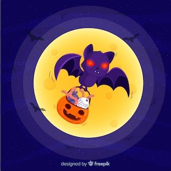 Потрясающая летучая мышь хэллоуина с плоским дизайном