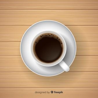 現実的なデザインのコーヒーカップのトップビュー