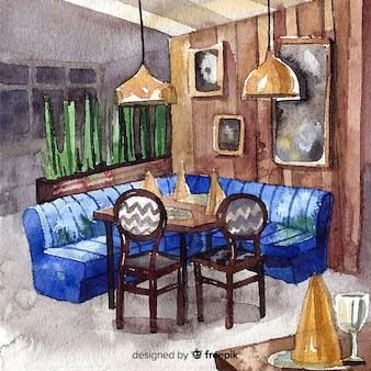 モダンな水彩レストラン内装