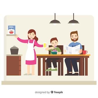 フラットデザインの家庭で幸せな家庭