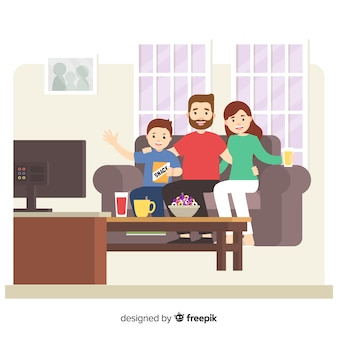Счастливая семья дома с плоским дизайном