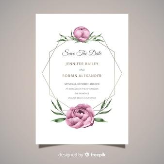 エレガントな結婚式招待状と牡丹の花