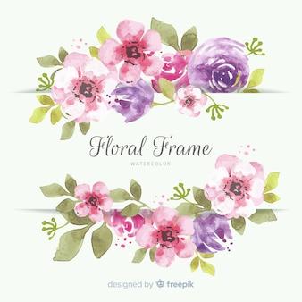 水彩スタイルの花のフレーム