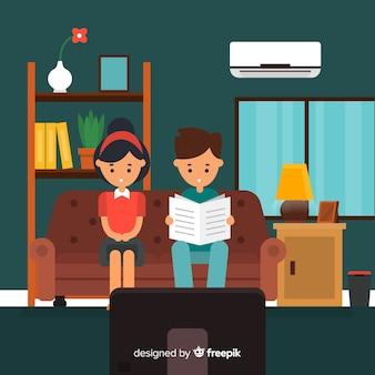 フラットデザインの家庭で幸せなカップル